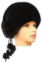 Норковая шапка на основе,Капля (черная)