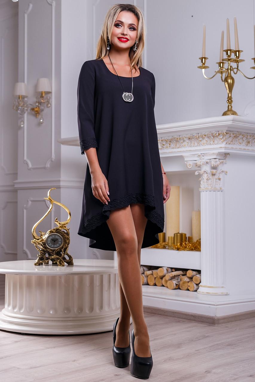 19d684ed060 Красивое Нежное Платье Асимметрия с Кружевом Черное S-XL - Ukraine In Trend  - 100