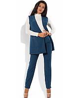 Синий костюм-двойка жилет с поясом и брюки