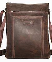 Мужская сумка вертикальная коричневая матовая натуральная кожа