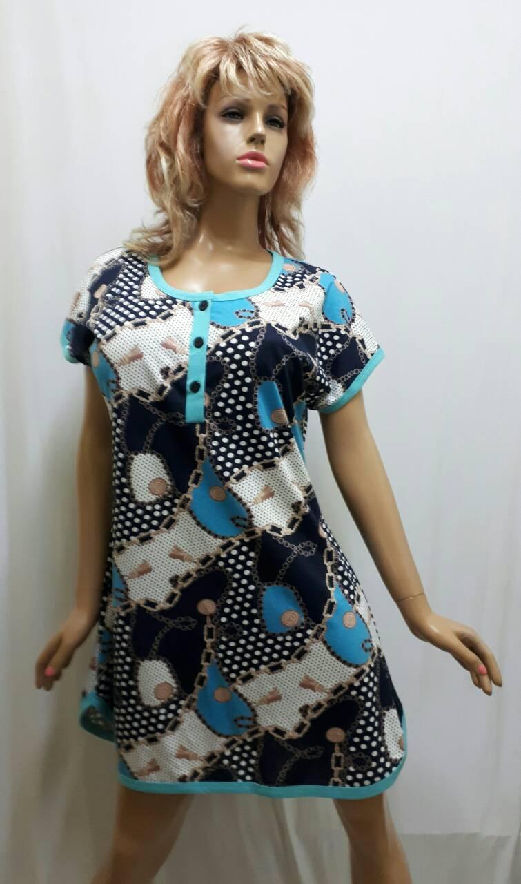 Яркая женская ночная рубашка с пуговицами. 104