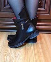 *Ботинки  женские зимние из натуральной кожи низкий ход*с натуральным мехом внутри 'овчина',зимние ботинки.