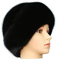 Женская норковая шапка на основе,Киевлянка (черная)