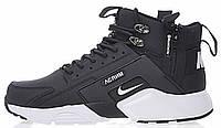 Мужские зимние кроссовки Nike Huarache Acronym Concept Black высокие Найк Аир Хуарачи Акроним черные с белым