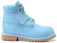 Женские ботинки Timberland Тимберленд БЕЗ МЕХА голубые