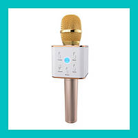 Беспроводной микрофон для караоке bluetooth Q7 MS (розовый, золото)