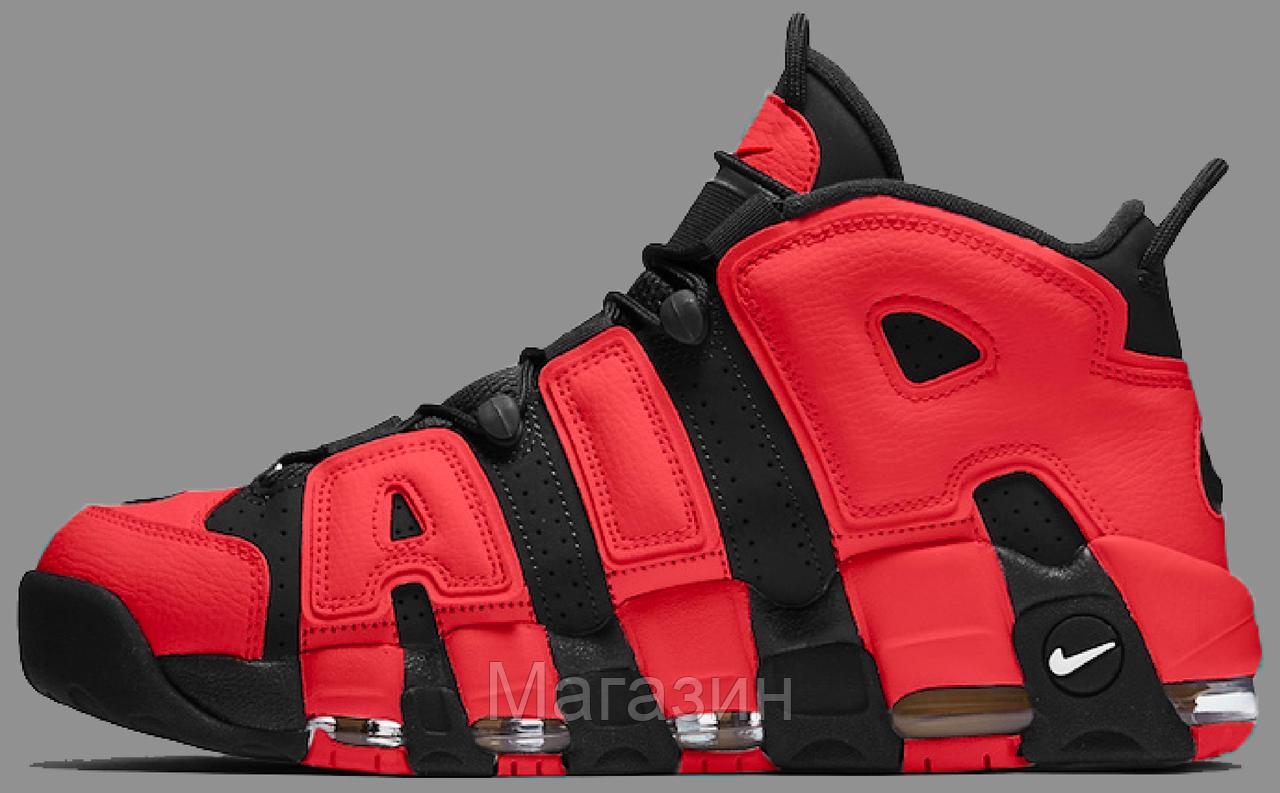 Мужские кроссовки Nike Air More Uptempo Infrared Найк Антемпо красные с черным