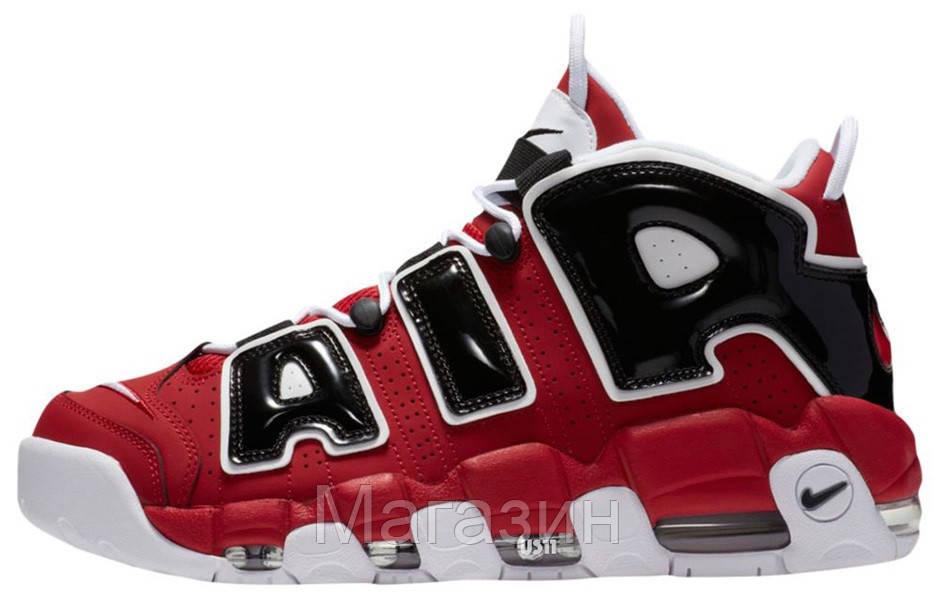 Мужские кроссовки Nike Air More Uptempo Bulls Varsity Red Найк Антемпо красные