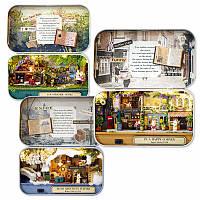 DIY Ручная монтажная коробка Ретро-оловянная коробка Симпатичная комната Старинный коттедж со LED Подарок домашнего декора