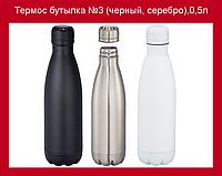 Термос бутылка №3 (черный, серебро),0,5л!Опт