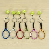 Многоцветная спортивная теннисная мяча Ракетка Key Chain Коллекционные брелки для ключей