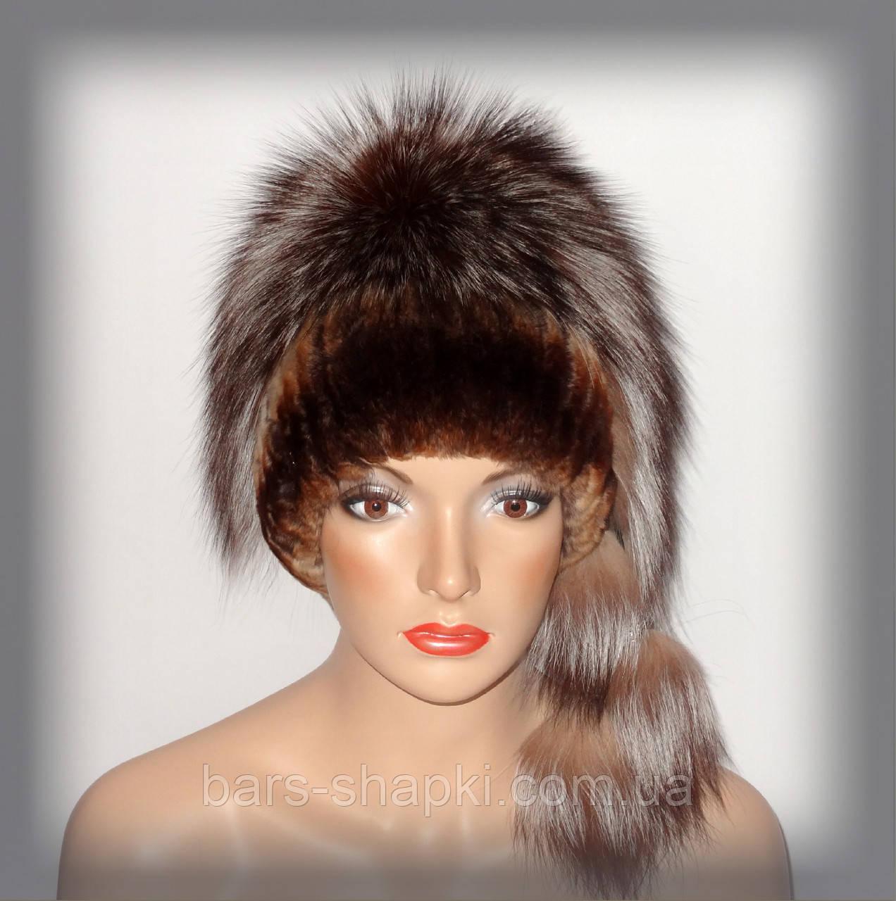 """Меховая женская шапка из чернобурки комбинированная с Rex Rabbit """"Гламур"""" (рыжая)"""