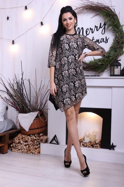 Прямое асимметричное платье из кружева и шелка  арт 3248-8
