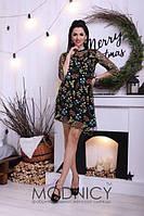 Прямое асимметричное платье из сетки с вышивкой и шелка  арт 3250-8