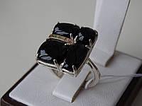 Эксклюзивное серебряное кольцо с золотой пластиной и ониксом, фото 1