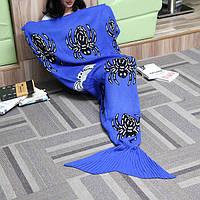 175x90cm паук синий вязаный хвост русалки одеяло ручной работы крючком бросить супер мягкий диван подстилке