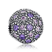 """Шарм Pandora Style (стиль Пандора) """"Фиолетово-розовый шарик паве"""""""