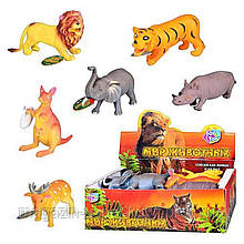 JT Животные 7215 (432шт) дикие, 6 видов, 12 шт в дисплее, 28-15-9см(ЦЕНА ЗА 1 ФИГУРКУ)