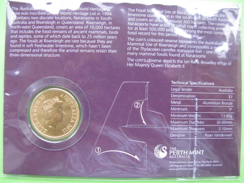 Австралия 1 доллар 2011 г. Фауна Австралии , UNC.