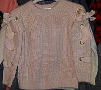 Детский теплый вязанный свитер на девочек