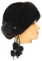 Меховая шапка норковая на основе,Ленинградка 2 (черная)