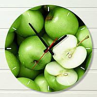 """Настенные часы на кухню - """"Зеленые яблоки"""" (на пластике)"""