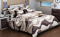 Двуспальный евро комплект постельного белья волна коричневая