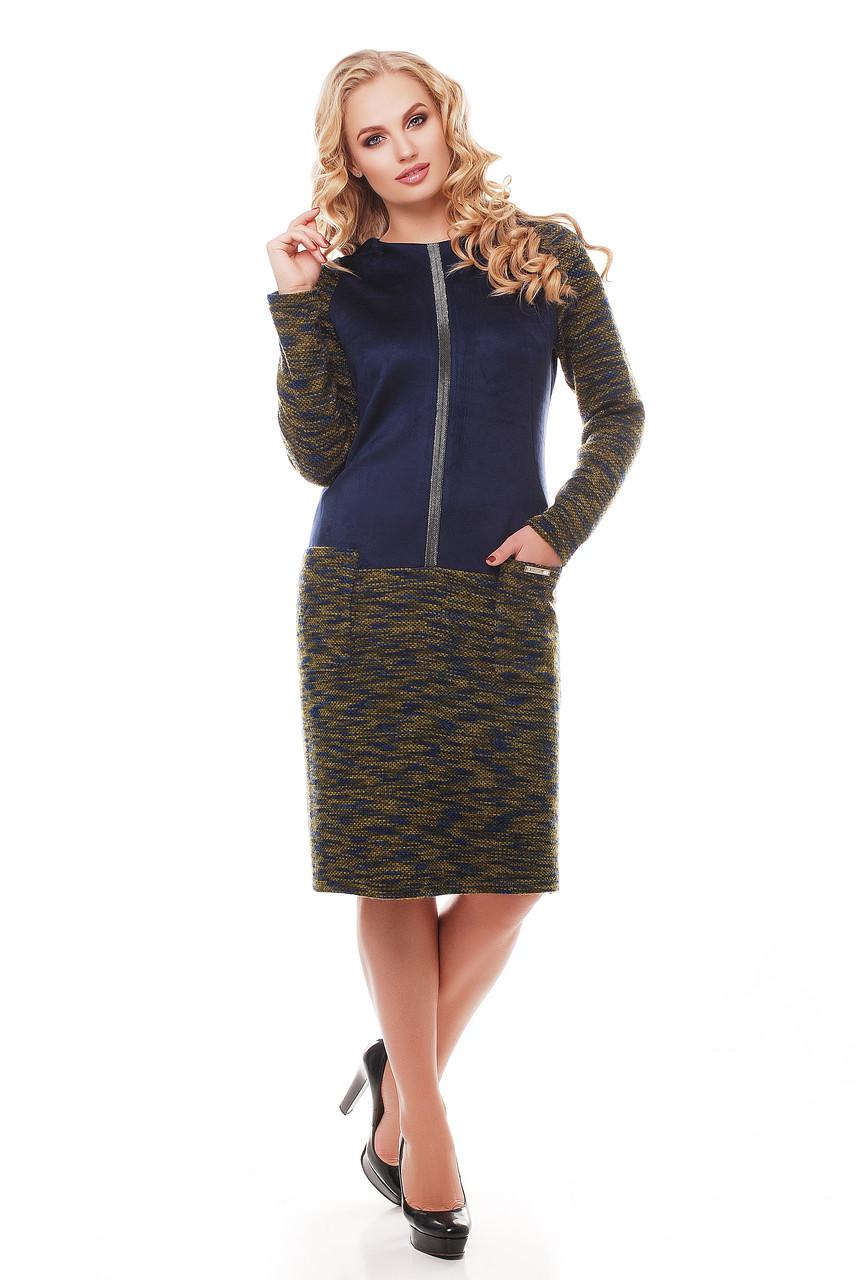 Теплое платье Кэти оливка