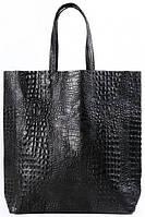 Большая модная черная сумка из натуральной  кожи под крокодила POOLPARTY черный leather-city-croco-black