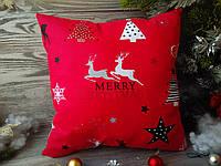 Подушка новогодняя красная, детская подушка  35 см * 35 см