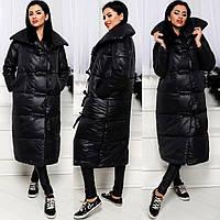 Длинная женская зимняя куртка на холлофайбере Код:615928538