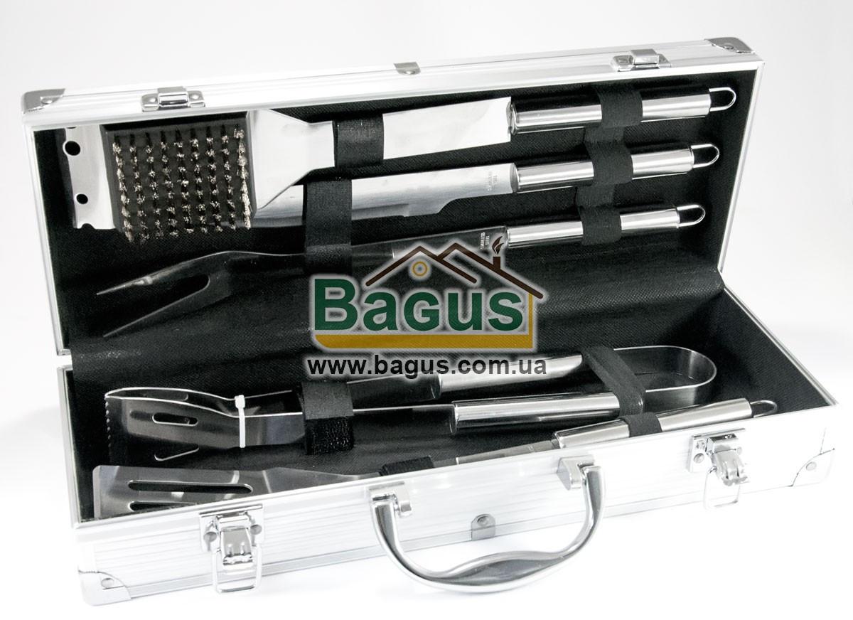 Набір інструментів для барбекю з нержавіючої сталі у валізі (5 пр./наб.) Династія DYN-12083