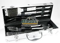 Набір інструментів для барбекю з нержавіючої сталі у валізі (5 пр./наб.) Династія DYN-12083, фото 1