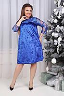 Платье стрейч  батал электрик, фото 1
