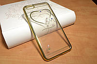 Силиконовый чехол для iPhone 6 Plus / 6S Plus Сердце и стразы