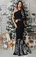 Шикарное платье рыбка в пол паетка на один рукав расцветки МС-12.026