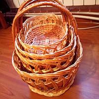 Набор пасхальных корзин природного цвета лозы