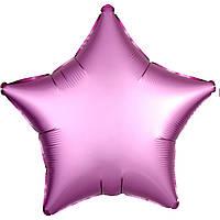 Фольга средняя звезда матовая розовая