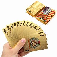 Золото с пластиковым покрытием игральных карт игры в покер США национальный флаг стиль