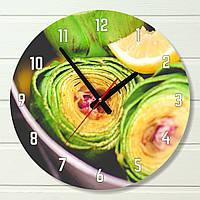 """Настенные часы на кухню - """"Артишок испанский"""" (на пластике)"""