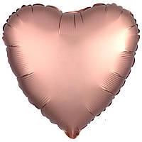 Фольга средняя сердце матовое розовое-золото