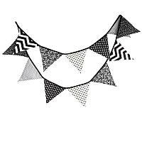Черно-белая хлопчатобумажная ткань овсянка флаги баннер душа ребенка на открытом воздухе палатка инструмент украшения съемки
