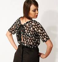 Платье черепки с черной юбкой паплин