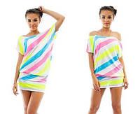 Разноцветная полосатое платье-туника