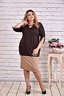 Шоколадное двухцветное платье | 0625-1