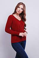 Яркий модный вязаный свитер с V-образным вырезом горловины 42-46 вишня Код:600085294