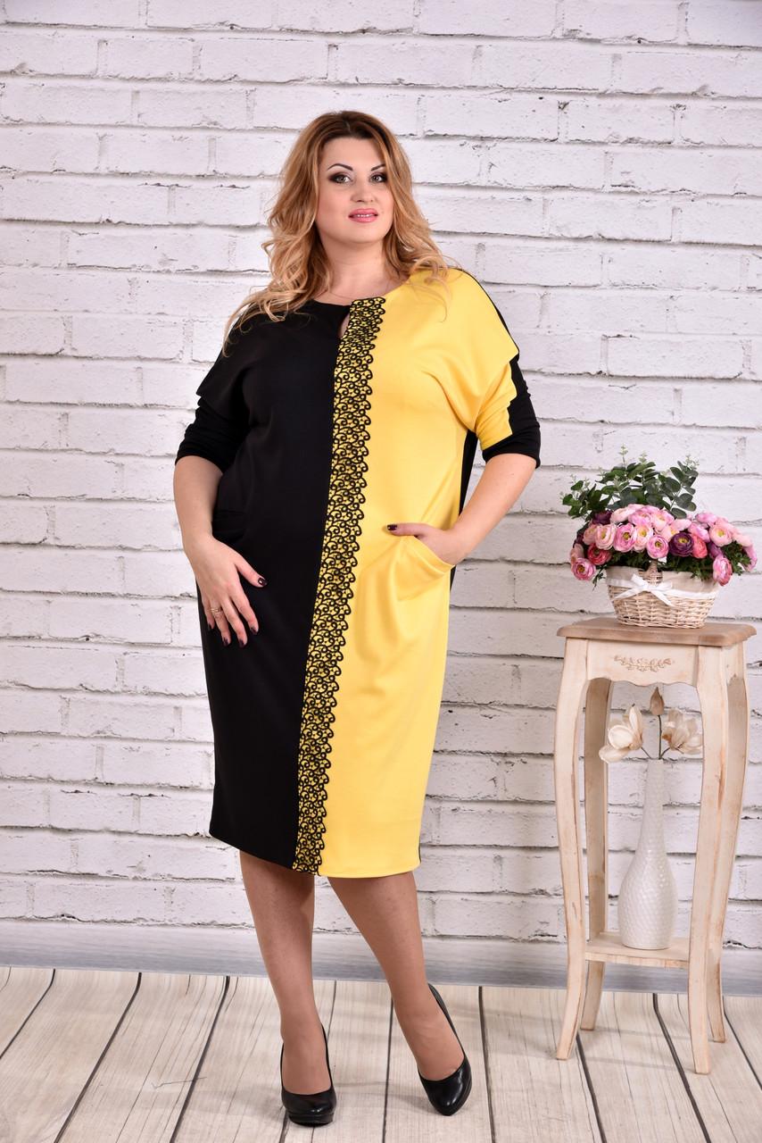 Черное с желтым платье | 0634-1