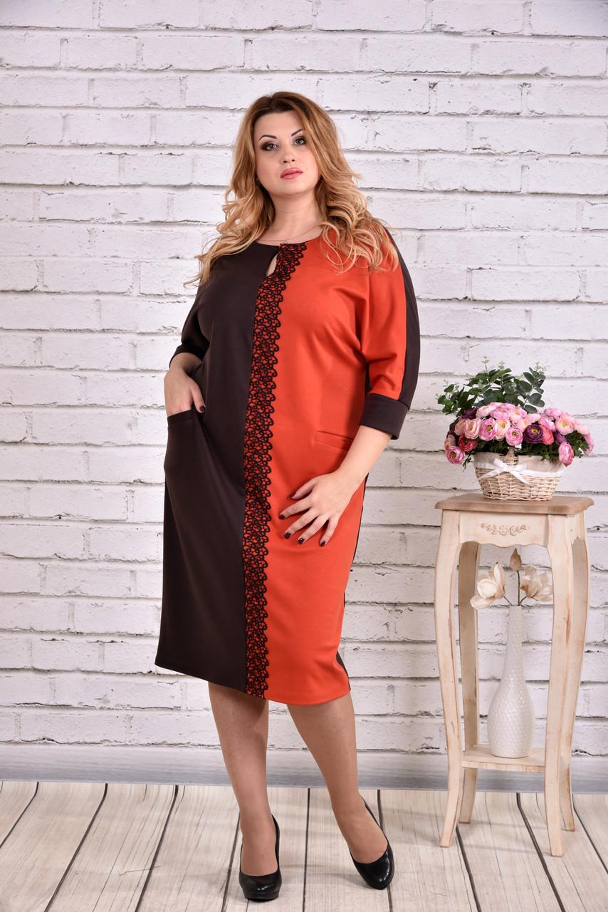 Оранжевое стройнящее платье | 0634-2
