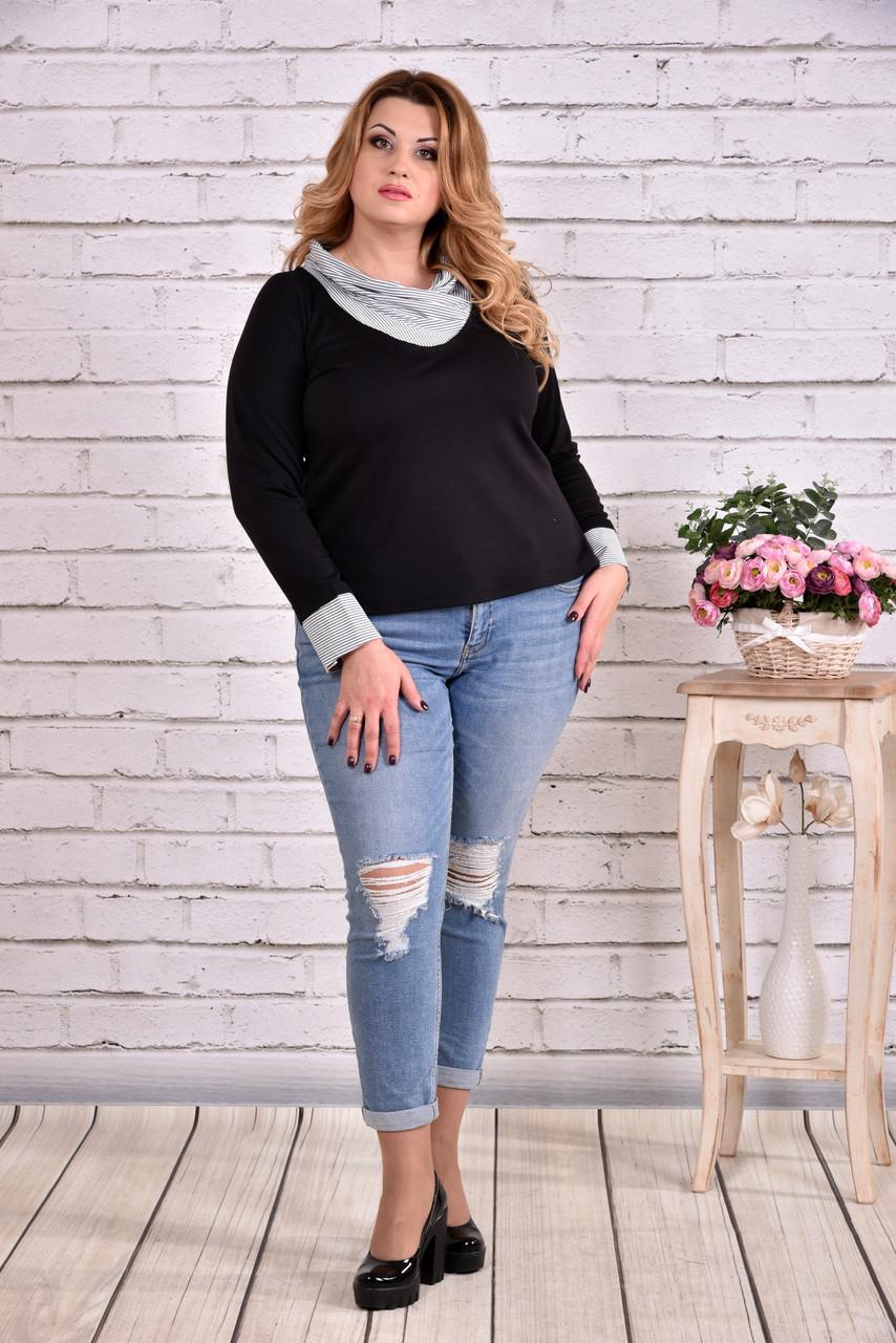 Черная блузка с воротником   0636-1