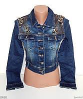 Джинсовая куртка с бусинками и стразами S